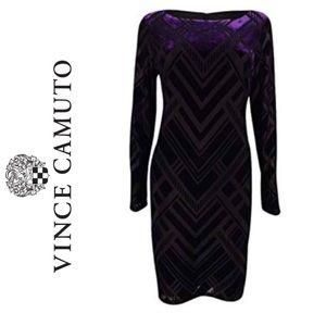 Vince Camuto Black and Purple Velvet Sheath Dress
